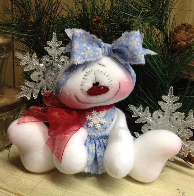 "Primitive HC Holiday Christmas Doll Snowman Snowgirl Snowflake 6"" Super Cute! #IsntThatCute #Christmas"