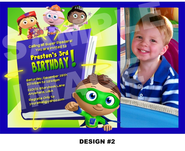 Super Why Invitation - PBS Super Why Birthday Invitation - Birthday Party Printable Invitation - Photo Option -- 2 Design Options. $10.00, via Etsy.