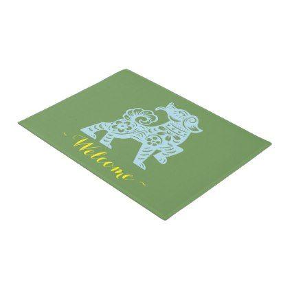 Jitaku Year Of Dog Green Door Mat - paper gifts presents gift idea customize