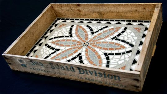 Mosaic in antique tray by artist from Canal Crossing Mosaic in Schuylerville NY.