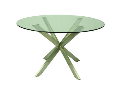 """Pastel Furniture Eritrea Table with 48"""""""" Round Glass Top in Stainless Steel"""