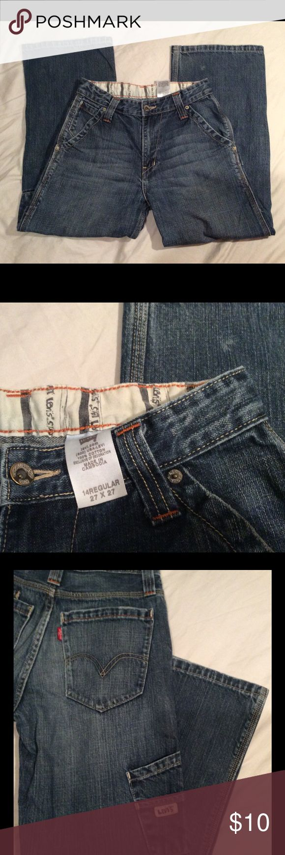 Levi's Dungarees Jeans Size 14 Reg Levi's Dungarees Jeans Size 14 Reg.  Inseam 21.   IMMACULATE CONDITION!!!                             No rips, holes, or stains.  Smoke-free and Pet-free environment. Levi's Bottoms Jeans