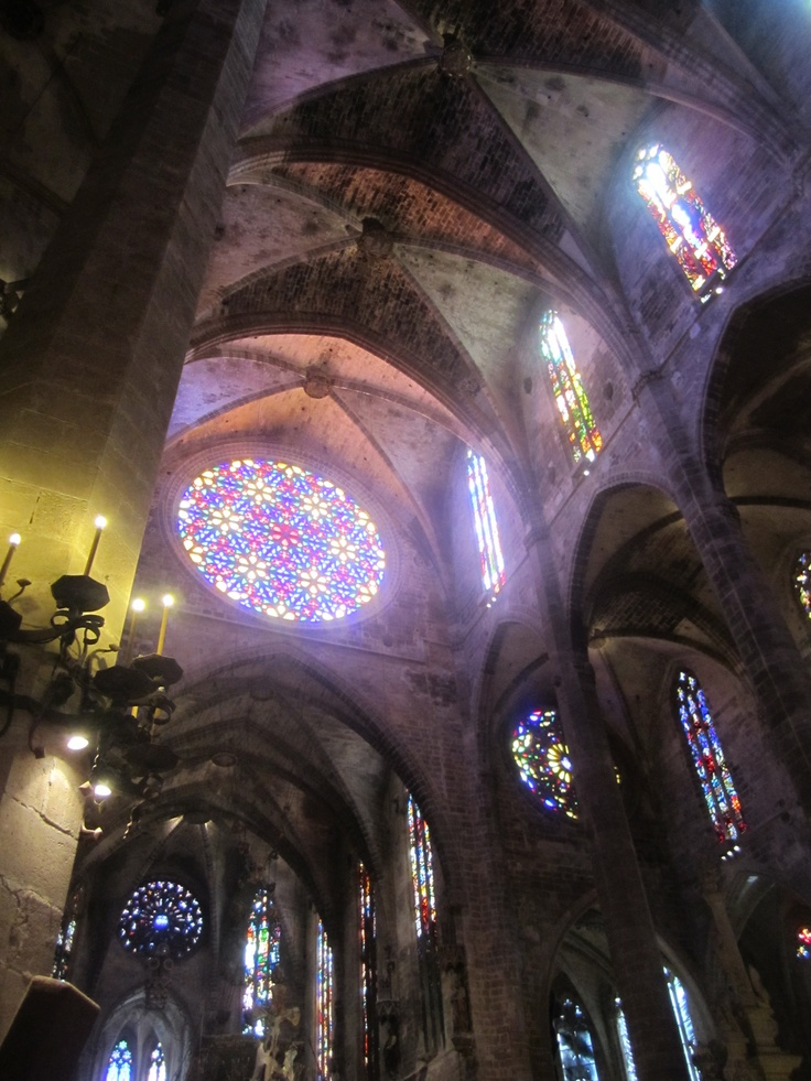 Beautiful stained glass windows inside Palma Cathedral in ...