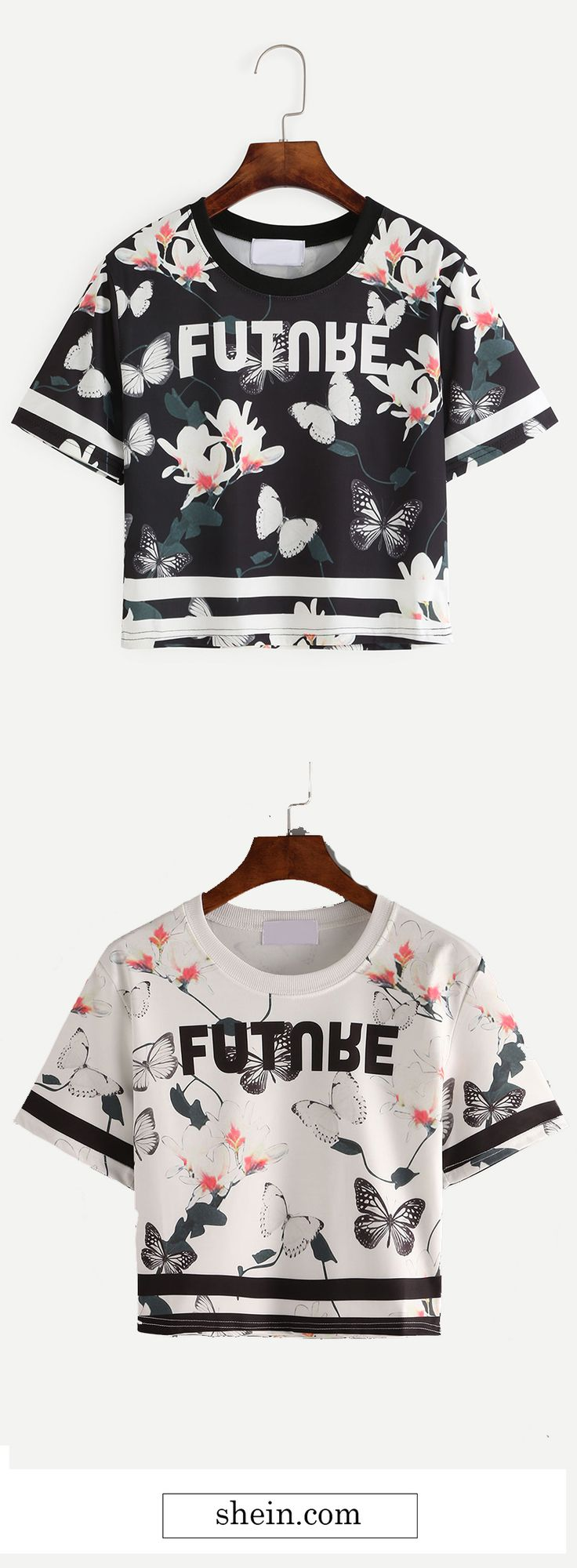 Letter & Butterfly Print Crop T-shirt Collect.