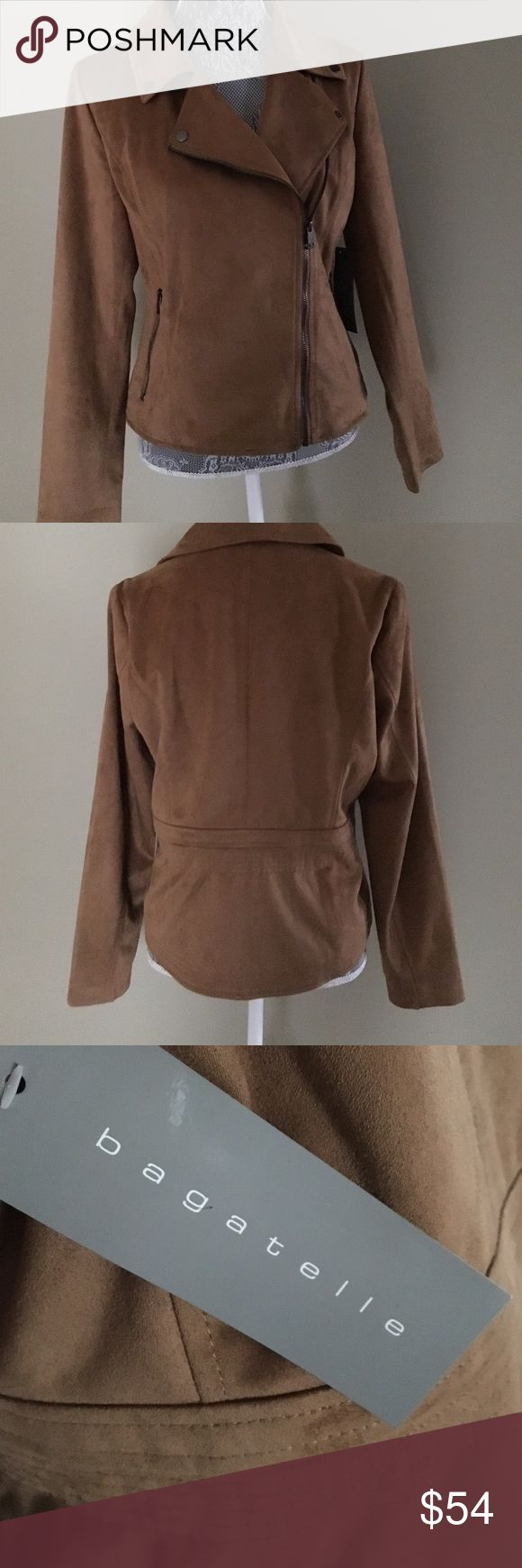 NWT Bagatelle Suede Jacket NWT Bagatelle Suede Jacket. Whiskey brown color w/front slant zip and 2 zip pockets.  Gorgeous!  Size M Bagatelle Jackets & Coats