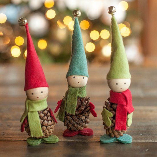 Make these adorable Scandinavian inspired elves using felt and pinecones. A lovely holiday craft for both children and adults.