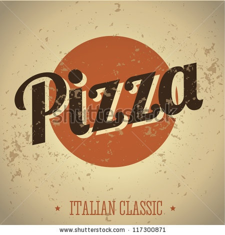 Retro Vintage Pizza Tin Sign with Grunge Effect