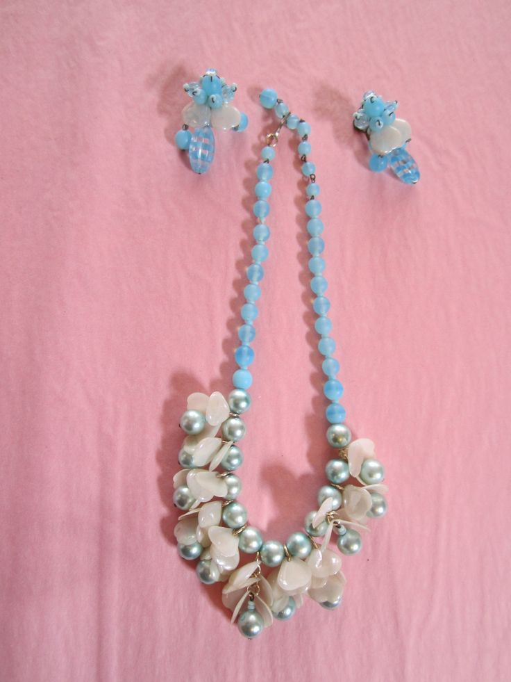 Vintage Blue bead and heart necklace and matching earrings