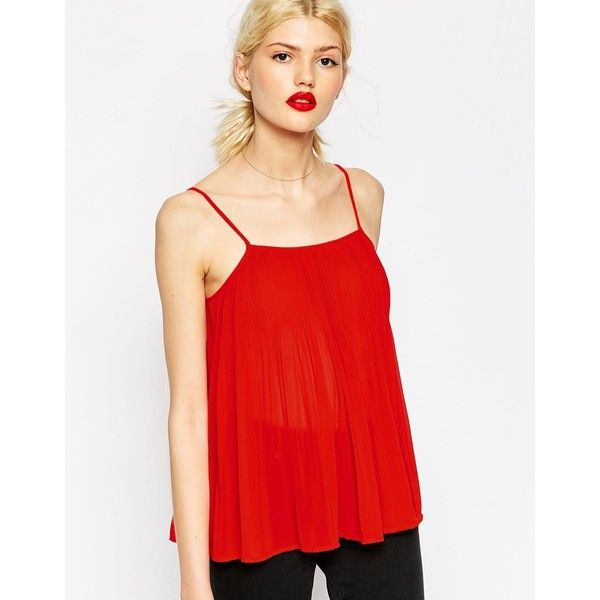 ASOS Pleated Swing Cami Top ($43) ❤ liked on Polyvore featuring tops, red, red tank top, red cami, red camisole top, red singlet and camisole tops
