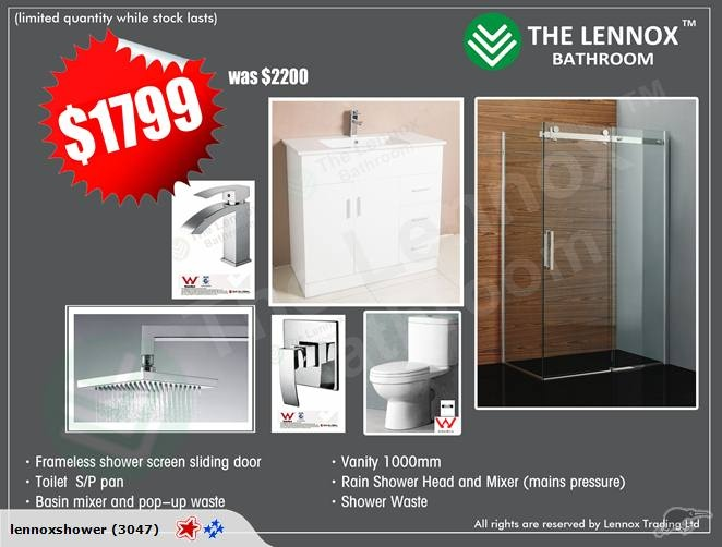 $1799! Bathroom combo Frameless Sliding shower | Trade Me