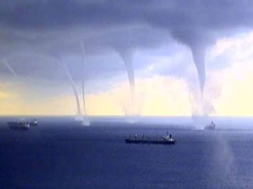 No less then five tornadoes have sprung up just a kilometer out at sea from the port town of Novorossiysk, Russia.
