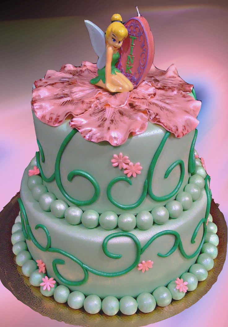 The 90 best images about cakes disney tinkerbell on for Cute simple cakes