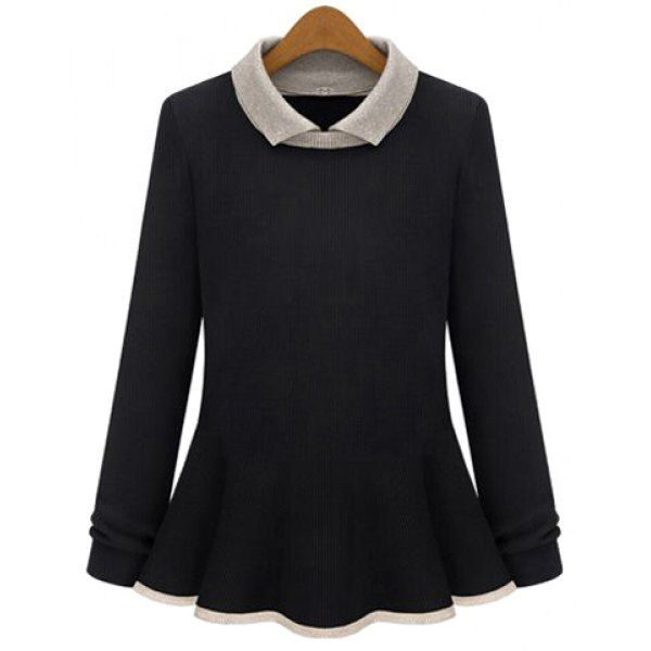 Knitted Slimming Fashionable Turn-Down Collar Long Sleeve Women's Sweater