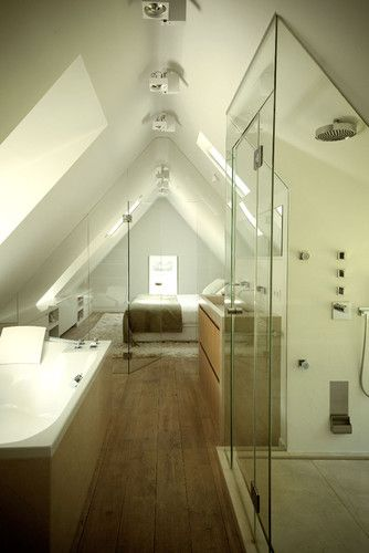 leave the toilet and vanity in the current small bathroom and put the shower and bath in the attic space through the door?