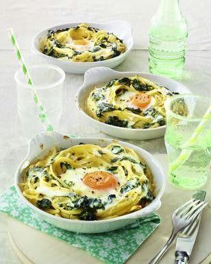 Das Rezept für Gratinierte Nudel-Spinat-Nester mit Ei und weitere kostenlose Rezepte auf LECKER.de