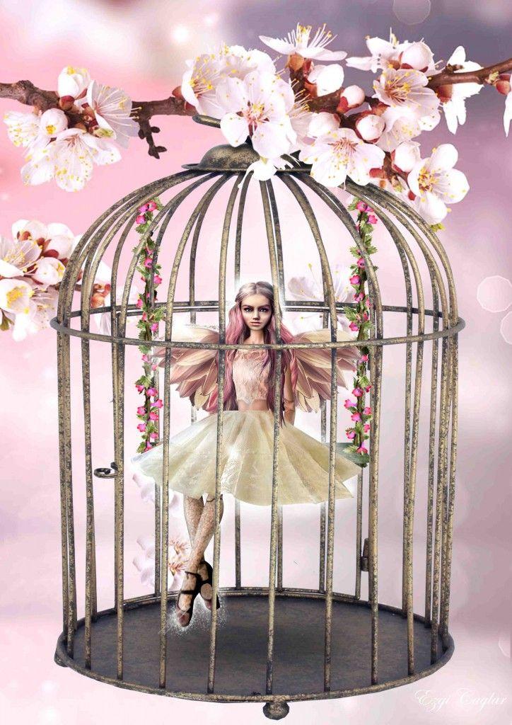 Glittering Cage #cage #fairy #cherryblossom #photoshop #digitalart #art #photomanipulation #pink #flowers