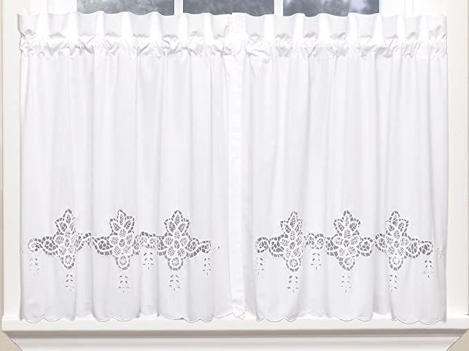 Amazon Com Sarah Battenburg Hand Guided Cutwork 60wx30l Tier Pair White Home Kitchen Lace