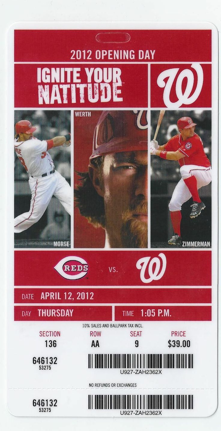 washington nationals | Washington Nationals V Cincinnati Reds Ticket Stub 4 12 12 Opening Day ...