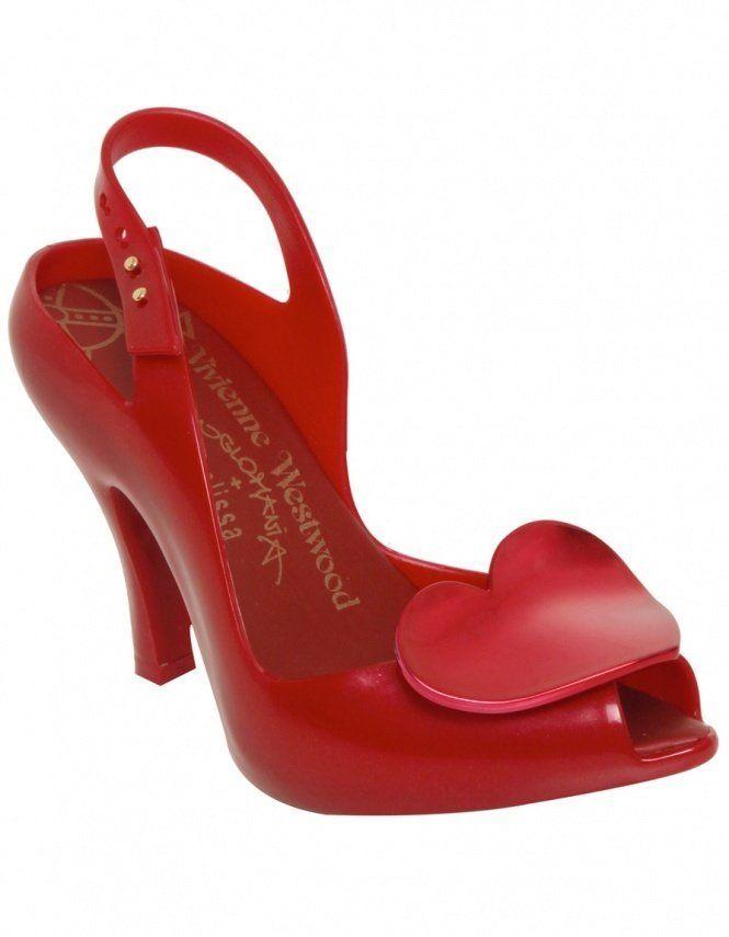Ruby Red Heart Anglomania Vivienne Westwood Melissa Lady Dragon vintage retro mid century midcentury heels peep toe