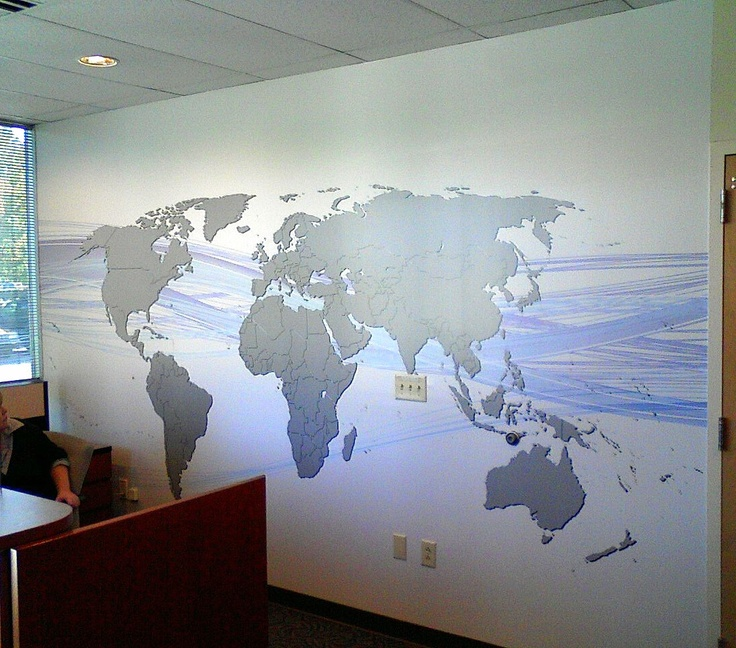 World Map On Office Wall.