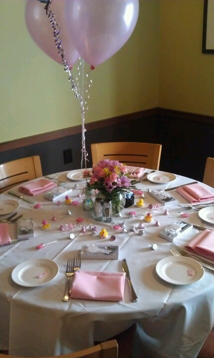 rubber duck baby shower table set up switch out all the pink for blue