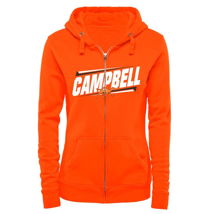 Campbell Fighting Camels Women's Double Bar Full Zip Hoodie - Orange - $54.99
