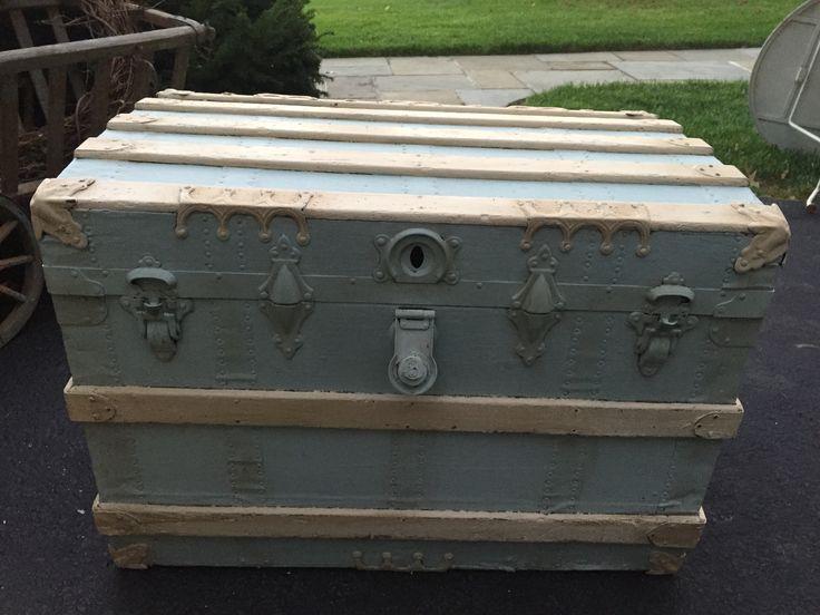 Antique steamer trunk, painted. | Antique steamer trunk