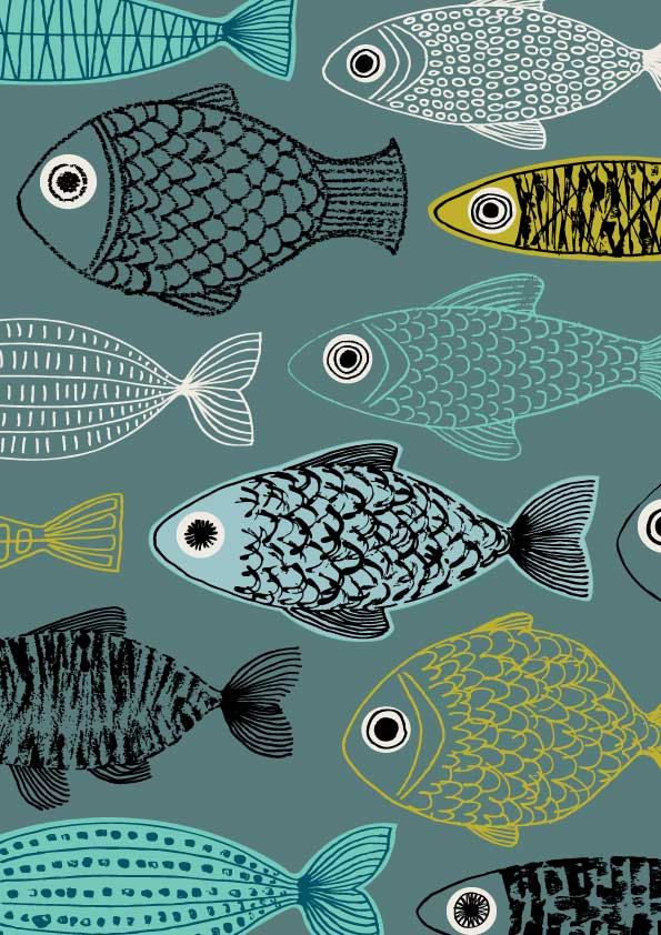 Blue Fish limited edition giclee print by EloiseRenouf on Etsy