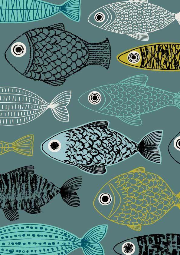 Pescado azul láminas de edición limitada grabado por EloiseRenouf