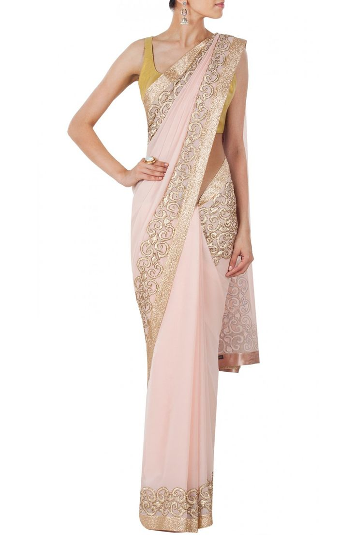 Light pink embroidered sari available only at Pernia's Pop-Up Shop.