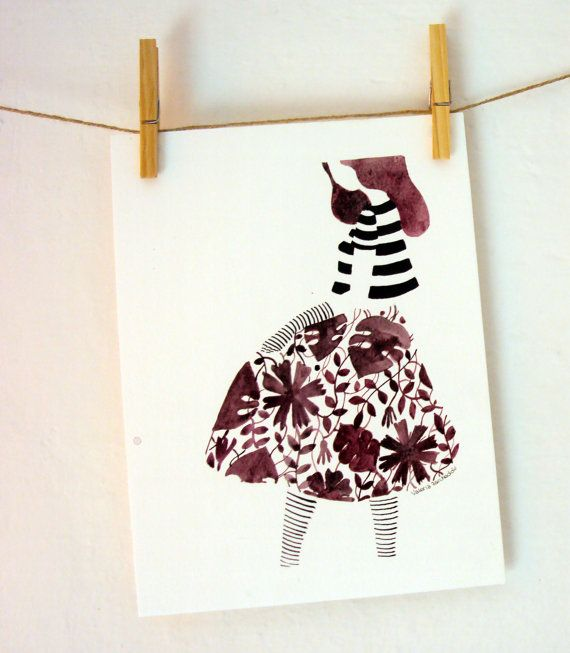 Illustrazione originale Fashion illustration Vestita di di SoQuiet