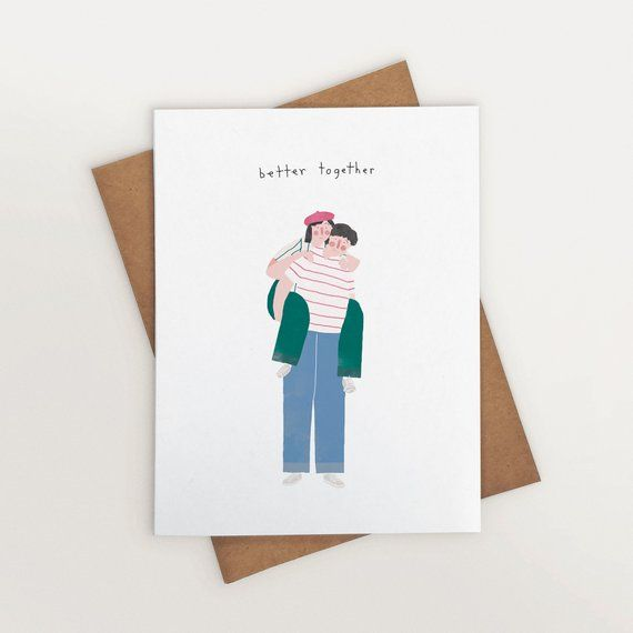 love note Heart Love Card couples card illustrated greeting card thinking of you card Blank Inside  anniversary card