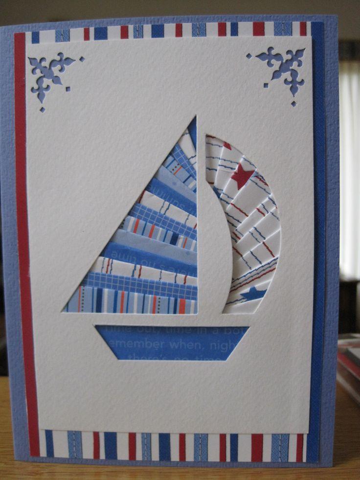 Sailboat Card: iris fold using Doodlebug paper & Anna Griffin corner punch