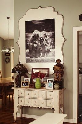 cut, router, & paint a large piece of wood, then adhere poster-sized print to wood.