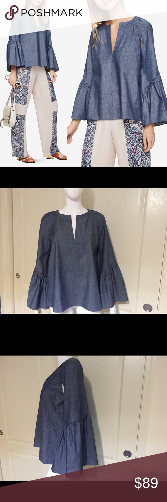 "BCBG max azria Suzie chambray Top bell sleeve new Condition: brand new without tags, never worn. 2017 s/s collection. SIZE TAG MAY BE SNAPPED.                                                                   This pullover top in chambray twill shirting exudes relaxed sophistication and bold styling with long, flared sleeves and a deep-V neckline. Pullover Chambray twill shirting   XS=2-4, S=6, M=8-10, L=12. Easy fit Model is approximately 5'9"" (175cm) and wearing an XS Measurements…"