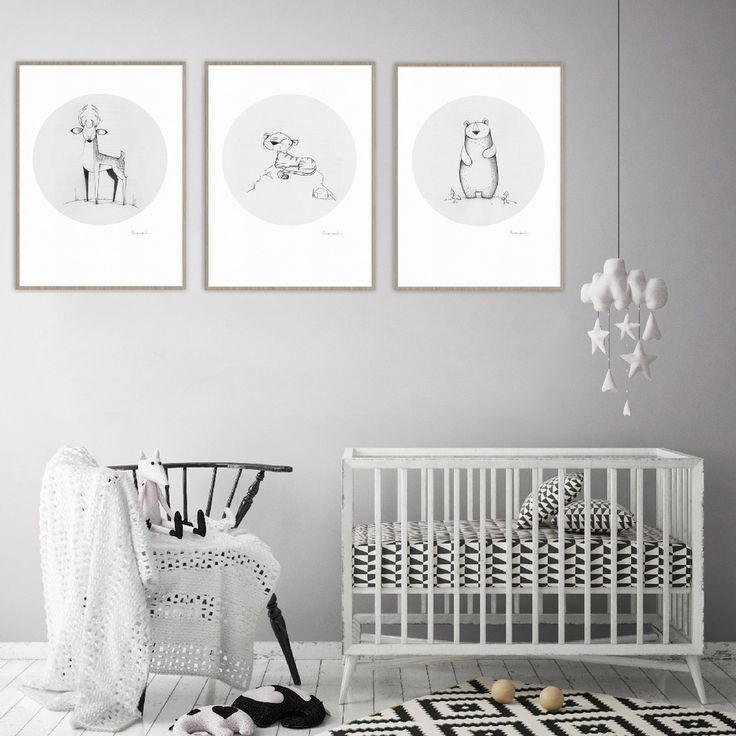Little Animals print series.  Adorable prints perfect for a gender neutral nursery, monochrome kid's room or animal themed room.