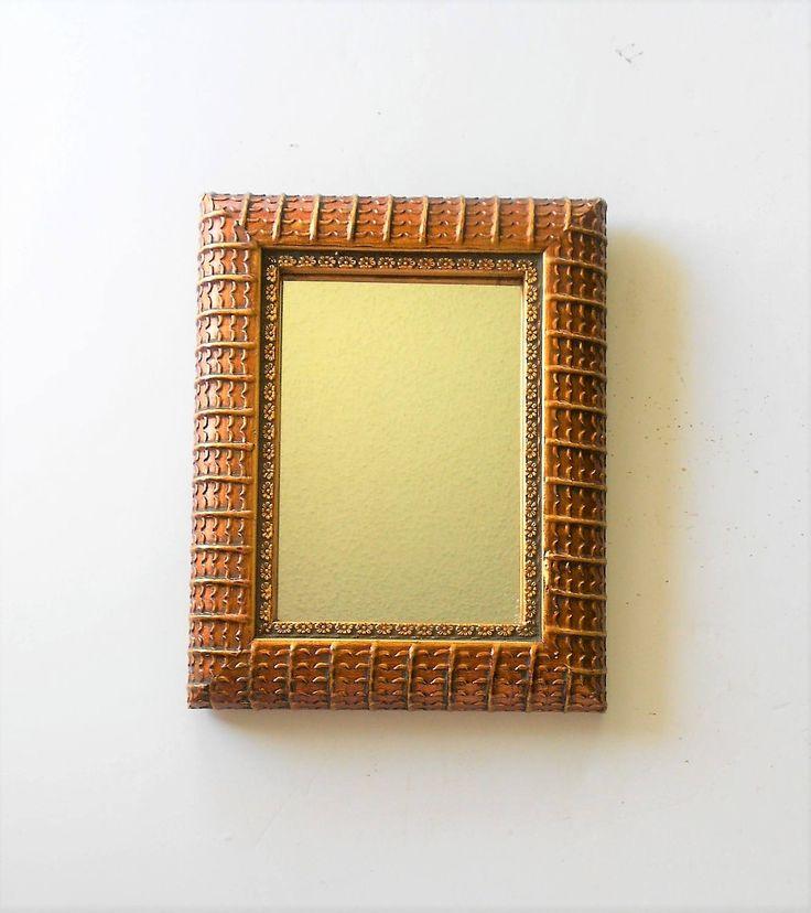 "9.75"" x 7.75"", Mirror Gold, Narrow Mirror, Wall Hanging, Bathroom Mirror, Gold Frame, Gold Leaf Mirror, Ornate Mirror, Double Frame Mirror by GoldLeafGirl on Etsy"
