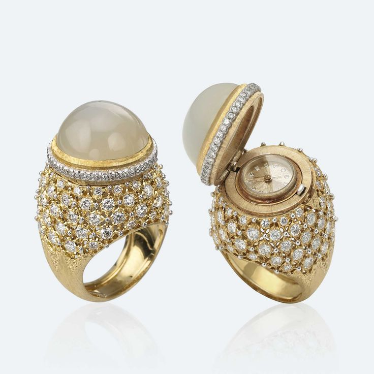 Buccellati - Anelli - Ring of Time - Alta Gioielleria - 18k yellow gold, white gold, moonstone, diamonds (=)