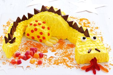 Friendly dragon cake http://www.taste.com.au/recipes/27695/friendly+dragon+cake #cakes #birthdaycakes #kidscakes