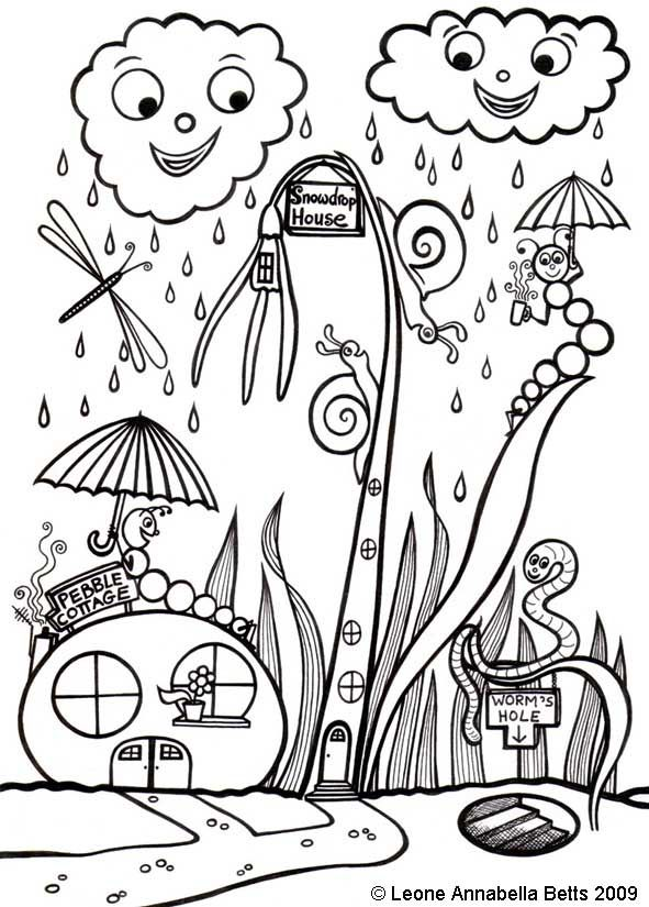 Free Printable Kids Colouring Snowdrop House and Pebble