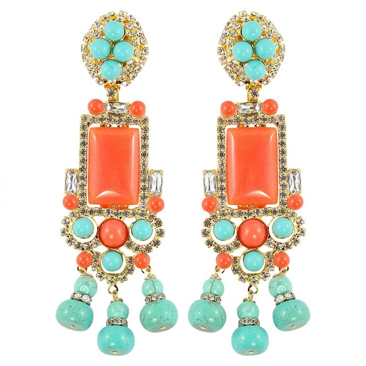 Lawrence VRBA Signed Statement Earrings - Faux Coral & Turquoise (clip-on)
