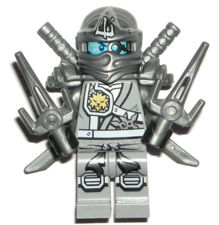 LEGO NINJAGO ZANE ZUKIN MINIFIGURE Authentic Titanium Dragon Silver Sais 70748 #LEGO