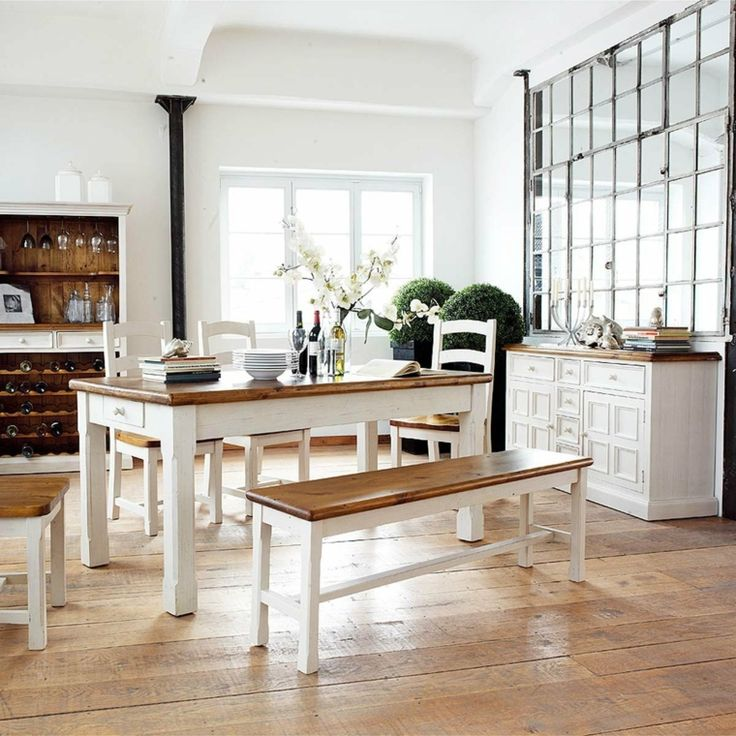 dco campagne chic et salle manger avec meubles en blanc - Salle A Manger Campagne Chic