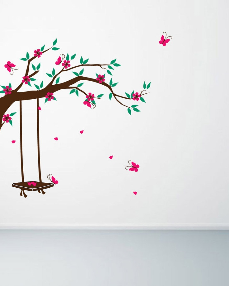 Branch wall decal, garden swing wall decal. Flowering branches with butterflies…