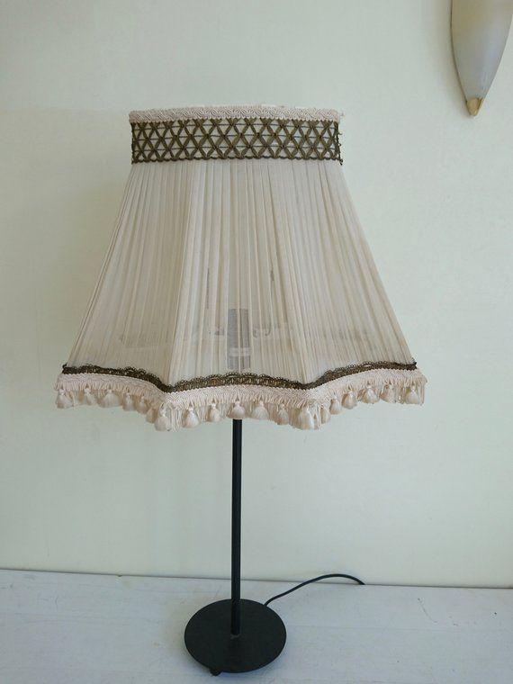 Vintage Chiffon Pleated Lamp Shade Desk Table Shabby Chic French Boudoir Ivory Cream Lampshade Light Lighting