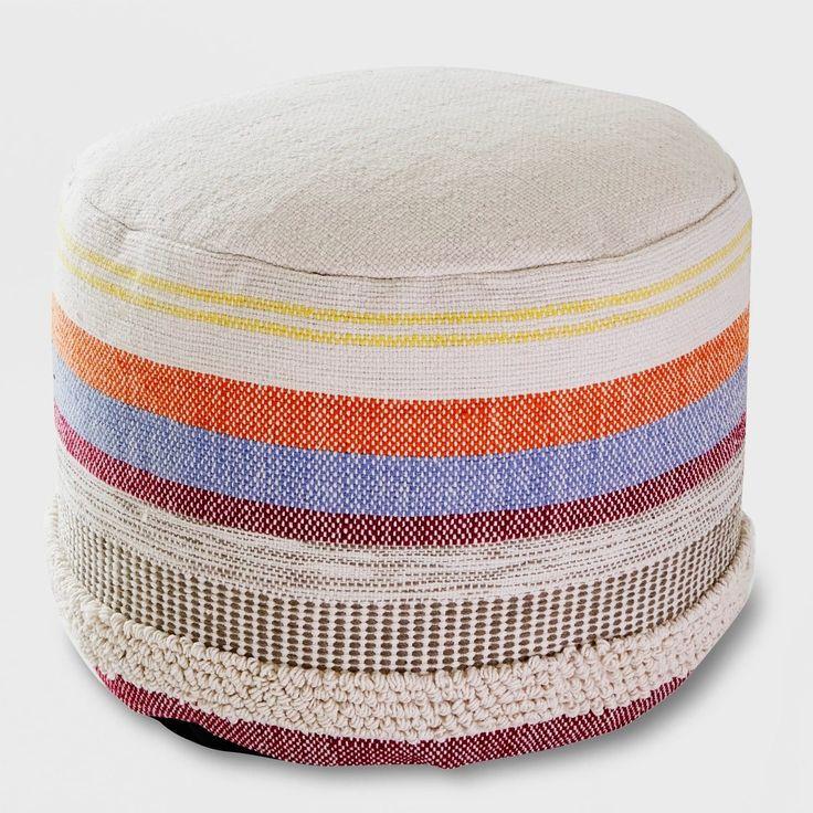 Woven Stripe Outdoor Pouf Outdoor pouf, Pouf ottoman