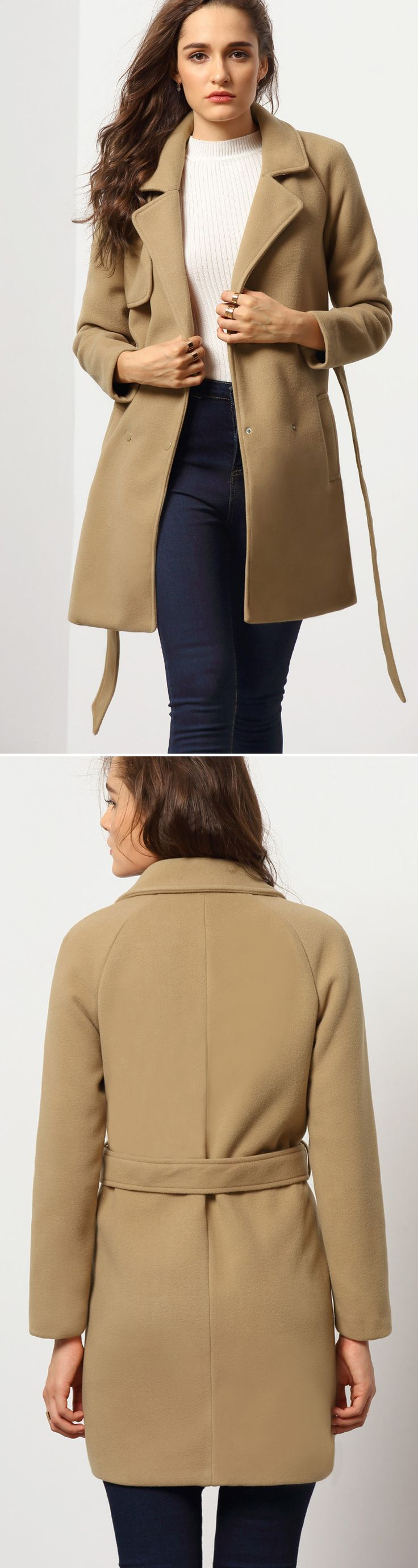 Camel Long Sleeve Lapel Coat. $31.99 for sale at romwe.com. Click &sign up for more discount!