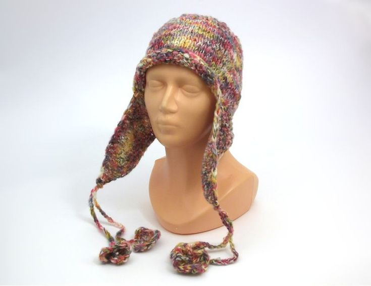Caps – RAINBOW IN MY HEAD - warm hat with earflaps – a unique product by betulek on DaWanda
