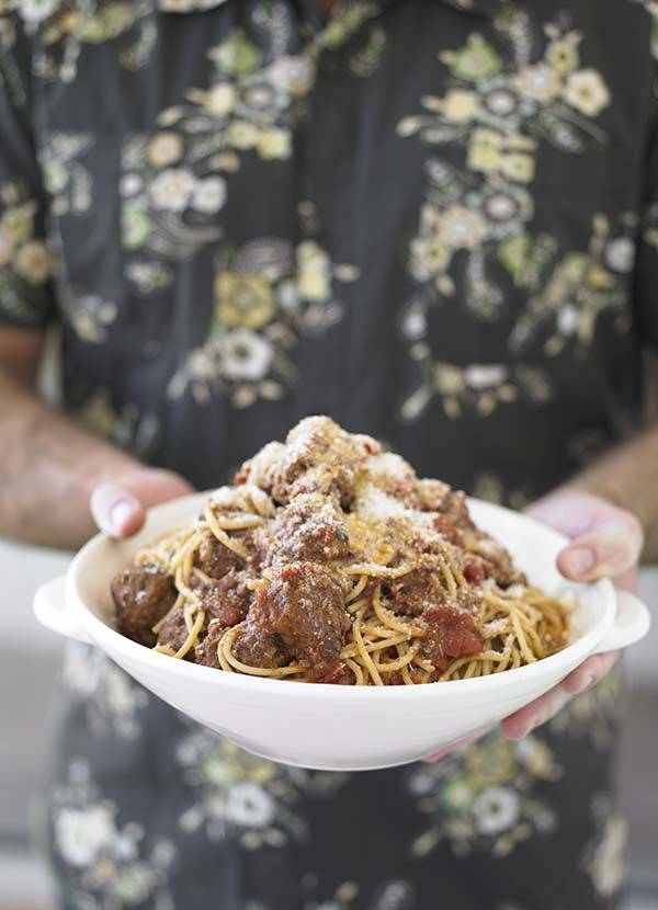 Spaghetti with meatballs: A classic! Make John Torode's spaghetti and meatballs for six tonight, in just over an hour. A super simple recipe that calls for less than 10 ingredients, it's best served with plenty of parmesan and a green salad on the side. Remember to brown the meatballs first.