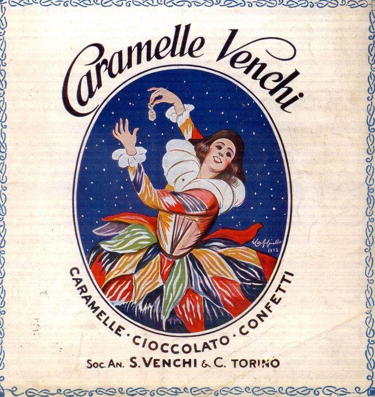 Pubblicità CARAMELLE VENCHI Cappiello 1924 Arlecchino advertising werbung old